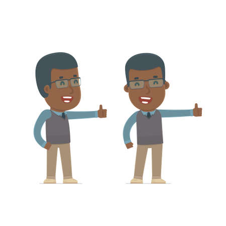 african teacher: Funny and cheerful Character African American Teacher showing thumb up as a symbol of approval. for use in presentations, etc. Illustration