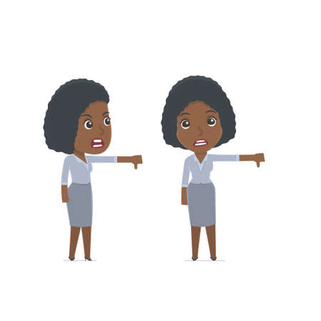 no mistake: Frustrated and Angry Character Social Worker showing thumb down as a symbol of negative. for use in presentations, etc. Illustration