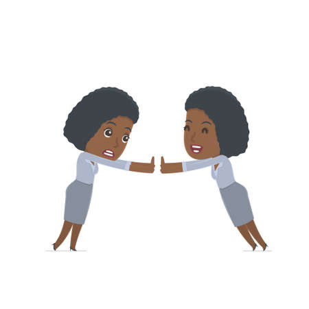 african girls: Funny Character Social Worker holds and interacts with blank forms or objects. for use in presentations, etc. Illustration