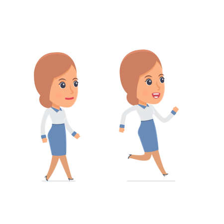 cheerful character: Funny and Cheerful Character Consultant Girl goes and runs. for use in presentations, etc.