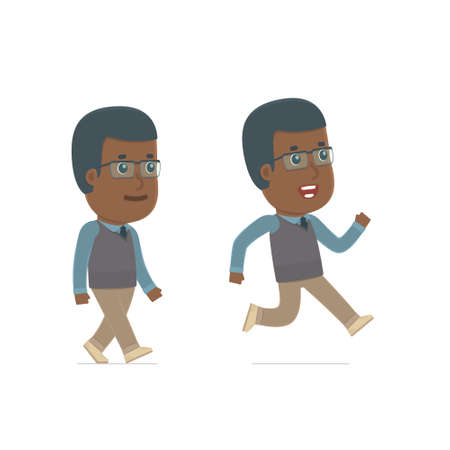 runs: Funny and Cheerful Character African American Teacher goes and runs. for use in presentations, etc. Illustration