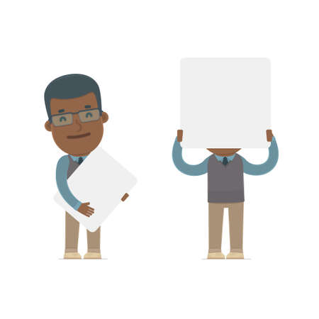 communication occupation: Funny Character African American Teacher holds and interacts with blank forms or objects. for use in presentations, etc. Illustration