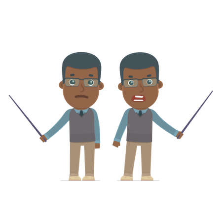 african teacher: Angry and Sad Character African American Teacher making presentation using pointer. for use in presentations, etc.