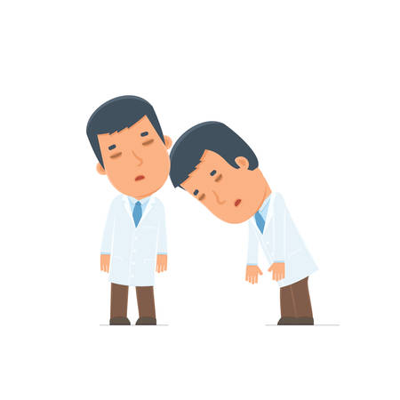 boredom: Tired and Exhausted Character Doctor sleeping on the shoulder of his friend. Poses for interaction with other characters from this series Illustration