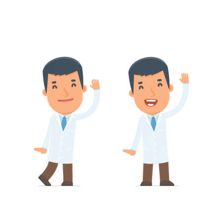 happiness or success: Funny and Cheerful Character Doctor welcomes viewers. for use in presentations, etc. Illustration