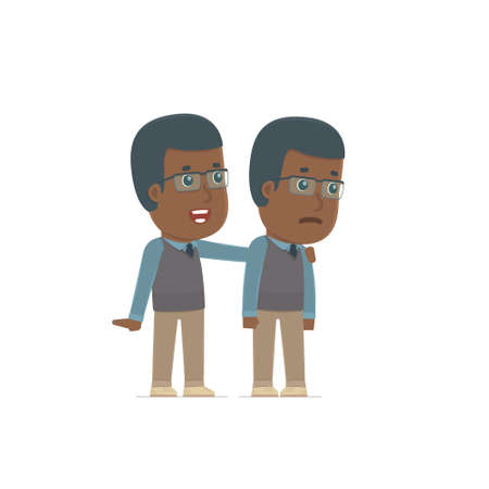 african teacher: Good Character African American Teacher cares and helps to his friend in difficult times. Poses for interaction with other characters from this series