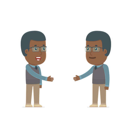 Intelligent Character African American Teacher concludes business contract with his partner. Poses for interaction with other characters from this series