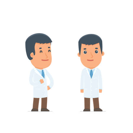 therapist: Happy Character Doctor standing in relaxed pose. for use in presentations, etc. Illustration