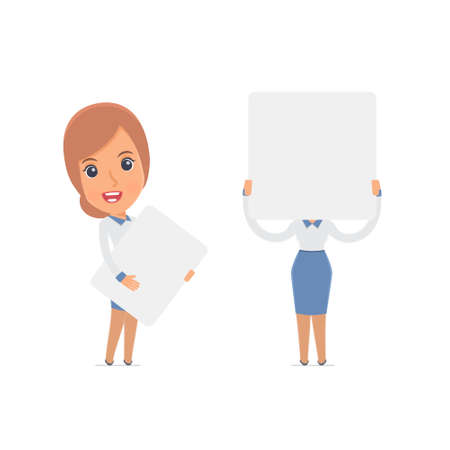 advisor: Funny Character Consultant Girl holds and interacts with blank forms or objects. for use in presentations, etc.