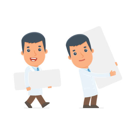 interacts: Funny Character Doctor holds and interacts with blank forms or objects. for use in presentations, etc.