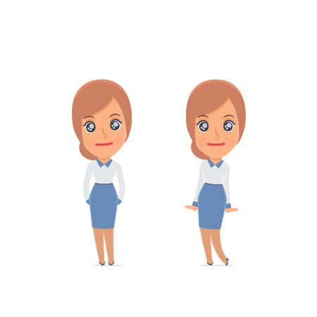 affectionate: Cute and Affectionate Character Consultant Girl in shy and awkward poses. for use in presentations, etc.