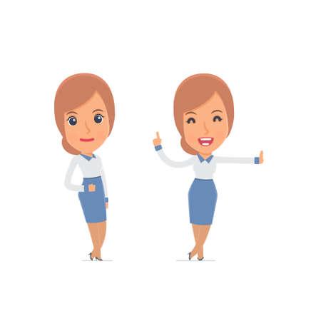 Smart und lustigen Charakter Berater Mädchen lehnte sich gegen die Wand und teilt Informationen. für den Einsatz in Präsentationen, etc. Standard-Bild - 50822544