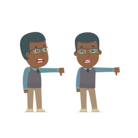 angry teacher: Frustrated and Angry Character African American Teacher showing thumb down as a symbol of negative. for use in presentations, etc.