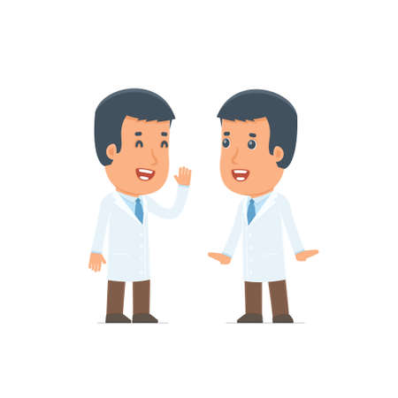telling: Cunning  Character Doctor gossiping and telling secret to his friend. Poses for interaction with other characters from this series