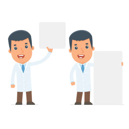 communication occupation: Funny Character Doctor holds and interacts with blank forms or objects. for use in presentations, etc.