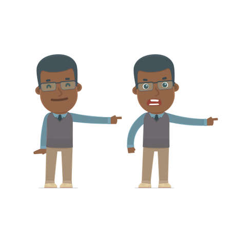 african teacher: Happy and Angry Character African American Teacher making presentation using his hand. for use in presentations, etc.