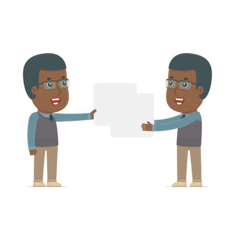 interacts: Funny Character African American Teacher holds and interacts with blank forms or objects. for use in presentations, etc. Illustration