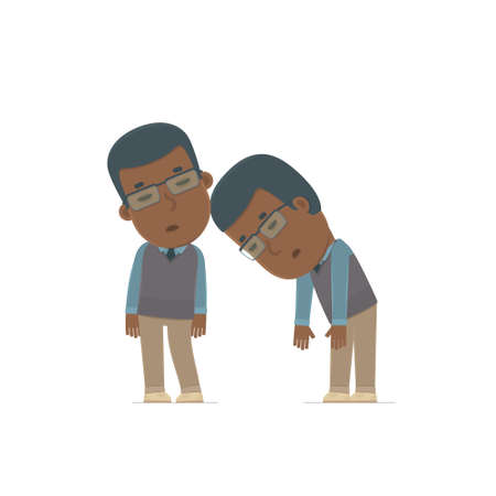 cartoon work: Tired and Exhausted Character African American Teacher sleeping on the shoulder of his friend. Poses for interaction with other characters from this series
