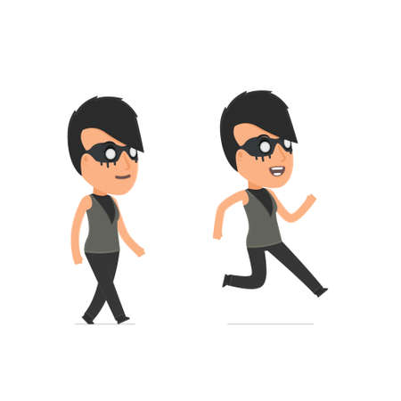 action sports: Funny and Cheerful Character Outsider Girl goes and runs. for use in presentations, etc. Illustration