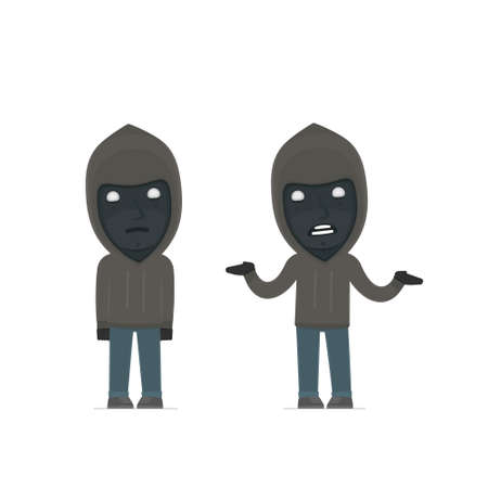 Confused  Character Anonymous Hackers embarrassment and does not know what to do. for use in presentations, etc. Çizim