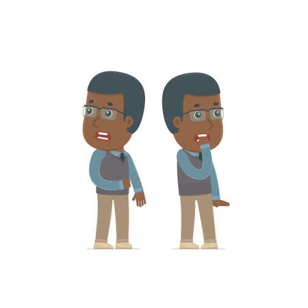 heard: Cowardly Character African American Teacher heard something and very scared. for use in presentations, etc.