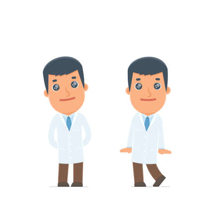 affectionate: Cute and Affectionate Character Doctor in shy and awkward poses. for use in presentations, etc.