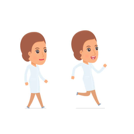 goes: Funny and Cheerful Character Nurse goes and runs. for use in presentations, etc. Illustration