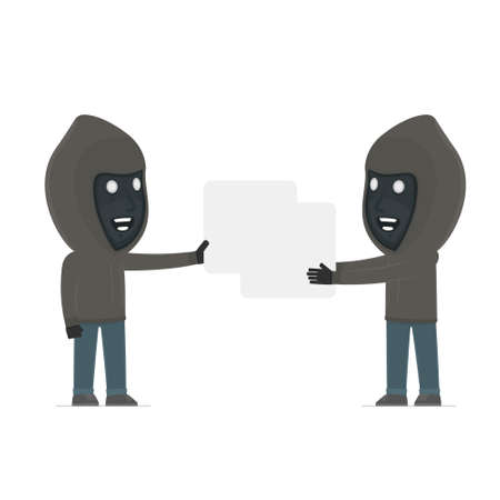interacts: Funny Character Anonymous Hackers holds and interacts with blank forms or objects. for use in presentations, etc. Illustration