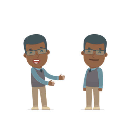 introduces: Funny Character African American Teacher introduces his shy friend. Poses for interaction with other characters from this series