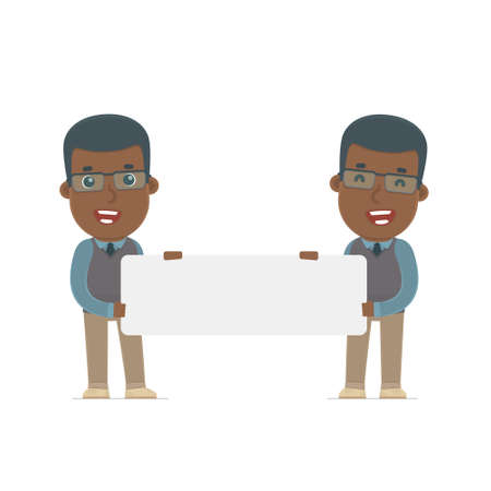 african teacher: Funny Character African American Teacher holds and interacts with blank forms or objects. Poses for interaction with other characters from this series