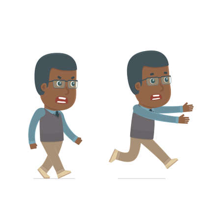 african teacher: Angry and Frightened Character African American Teacher goes and runs. for use in presentations, etc. Illustration