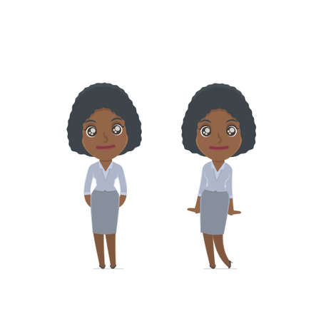 affectionate: Cute and Affectionate Character Social Worker in shy and awkward poses. for use in presentations, etc. Illustration