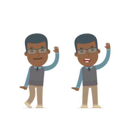 cheerful character: Funny and Cheerful Character African American Teacher welcomes viewers. for use in presentations, etc.