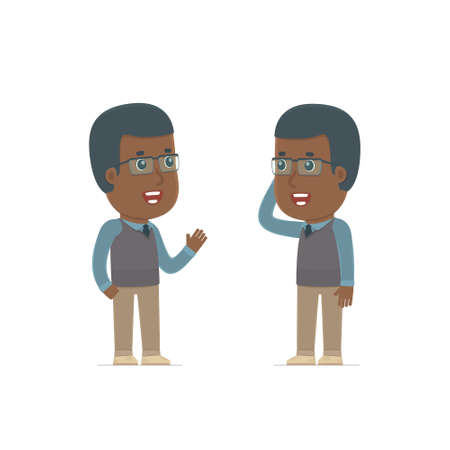 tells: Calm Character African American Teacher tells news to his friend. Poses for interaction with other characters from this series Illustration