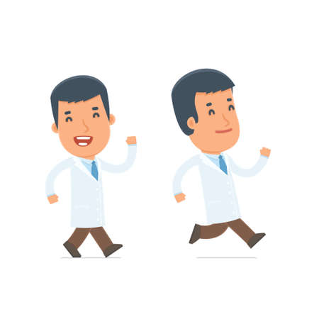 people in action: Happy and Cheerful Character Doctor goes and runs. for use in presentations, etc.