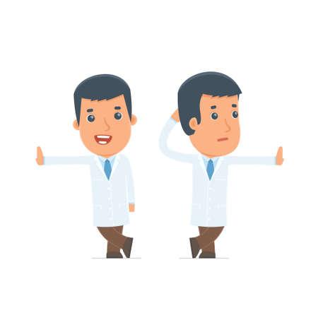 La duda y el carácter divertido doctor se apoyó contra la pared y la información de acciones. para su uso en presentaciones, etc.