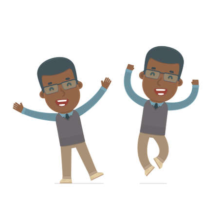 african teacher: Laughing and Joyful Character African American Teacher celebrates and jumps. for use in presentations, etc.