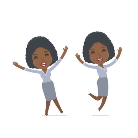happiness or success: Laughing and Joyful Character Social Worker celebrates and jumps. for use in presentations, etc.