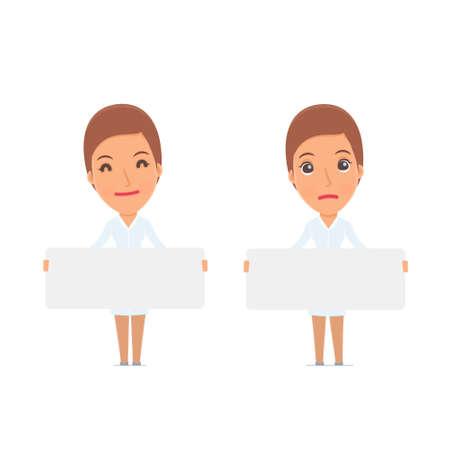 Infirmière drôle de personnage détient et interagit avec des formes ou des objets blancs. pour une utilisation dans des présentations, etc. Vecteurs