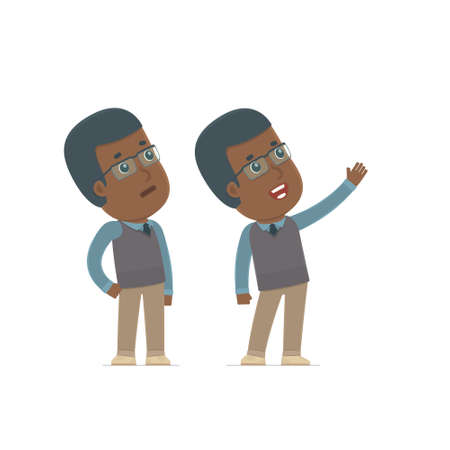 new direction: Active Character African American Teacher making presentation of new services to the customer. Poses for interaction with other characters from this series Illustration