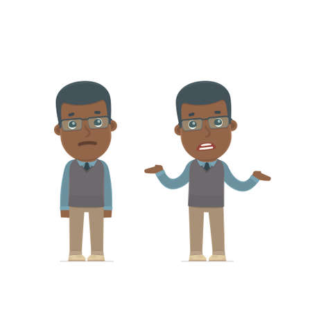 Confused  Character African American Teacher embarrassment and does not know what to do. for use in presentations, etc. Vectores