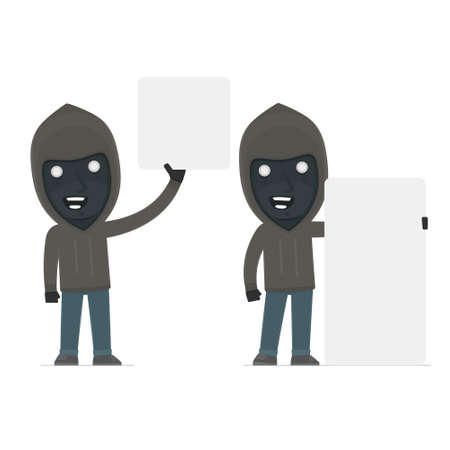 rogue: Funny Character Anonymous Hackers holds and interacts with blank forms or objects. for use in presentations, etc. Illustration