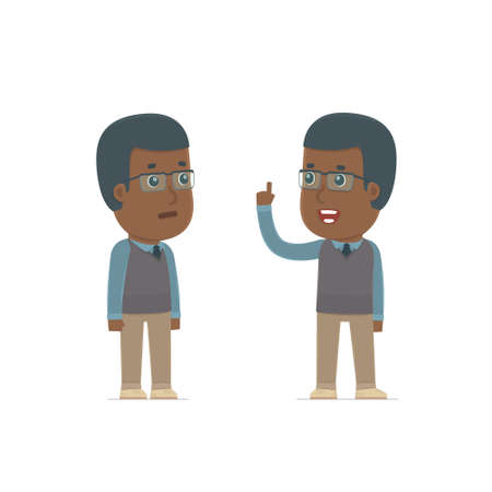 african teacher: Intelligent Character African American Teacher learns and gives advice to his friend. Poses for interaction with other characters from this series Illustration