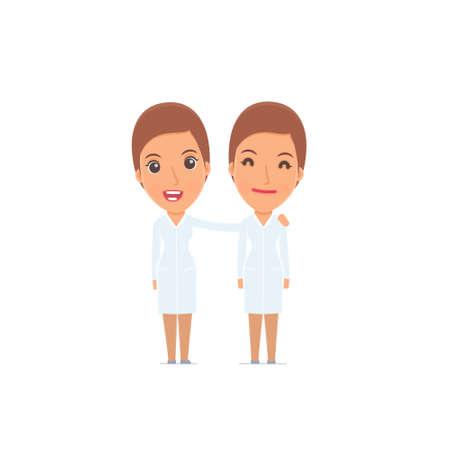 Joyful Character Nurse e il suo migliore amico in piedi insieme. Posa per l'interazione con altri personaggi di questa serie