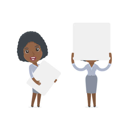 interacts: Funny Character Social Worker holds and interacts with blank forms or objects. for use in presentations, etc. Illustration