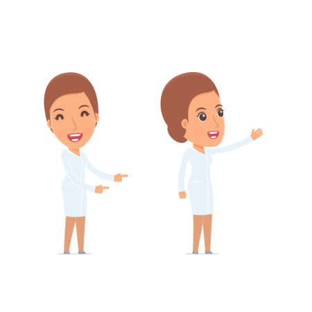 counselor: Happy and Cheerful Character Nurse making presentation using his hand. for use in presentations, etc.