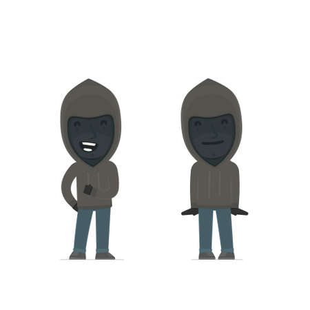 swindle: Funny Character Anonymous Hackers in confident and shy poses. for use in presentations, etc.
