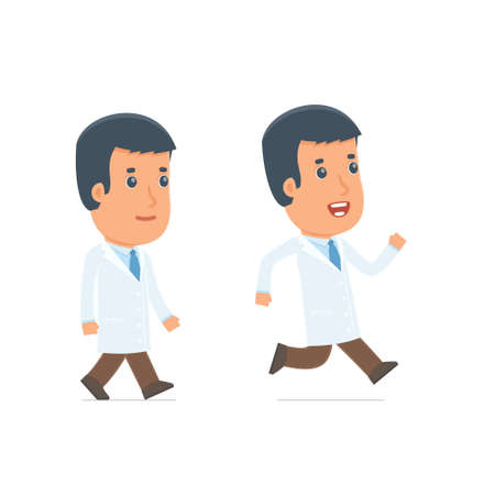 people in action: Funny and Cheerful Character Doctor goes and runs. for use in presentations, etc.