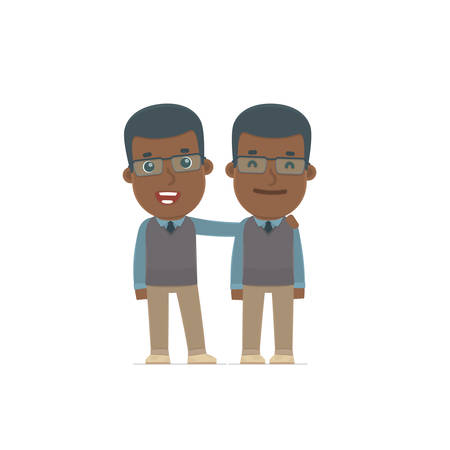 african teacher: Joyful Character African American Teacher and his best friend standing together. Poses for interaction with other characters from this series