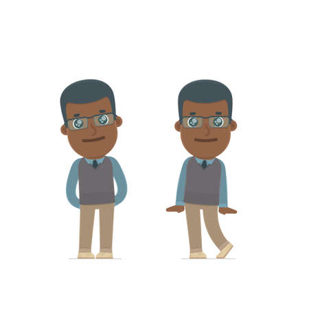 shy: Cute and Affectionate Character African American Teacher in shy and awkward poses. for use in presentations, etc.